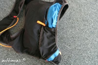 Taschen fürs Hany, die Flasks und Gels/Riegel.